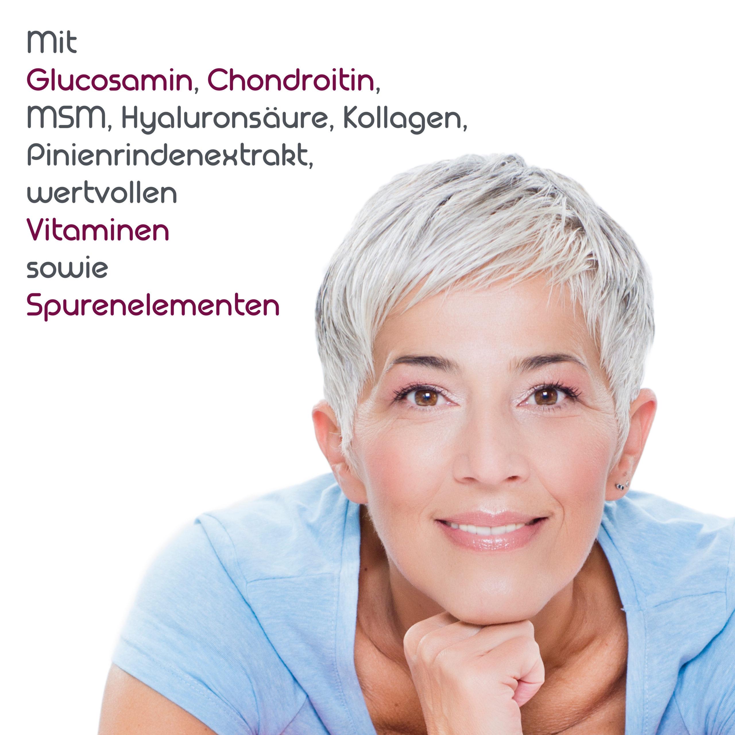 NRV Tabelle mit Glucosamin, Chondroitin, MSM, Hyaluronsäure, Kollagenhydrolysat, Pinienrindenextrakt, Vitaminen und Spurenelementen